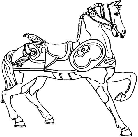 coloring pages of carousel horses carousel line drawing prancing