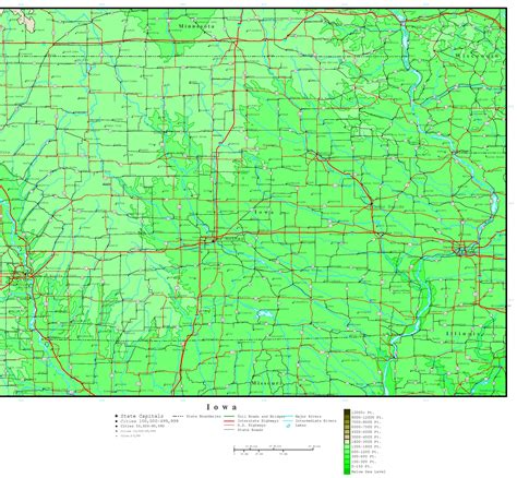 detailed map of iowa iowa elevation map