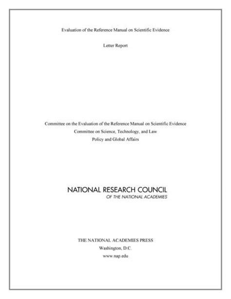 Evaluation Report Letter Evaluation Of The Reference Manual On Scientific Evidence Letter Report The National