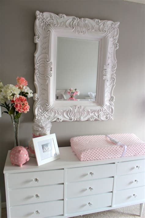 mirrored dresser for baby room project nursery vintage mirror repainted dresser love