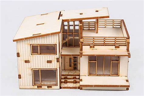 home design kit with furniture modern style house wooden model kit ho 3d wood miniature
