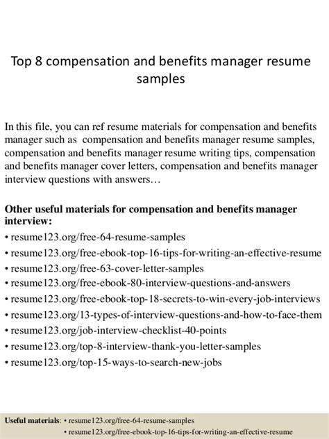 Benefits Director Sle Resume by Top 8 Compensation And Benefits Manager Resume Sles
