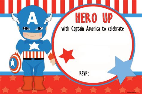 American Birthday Card Template by Free Printable Captain America Birthday Invitation