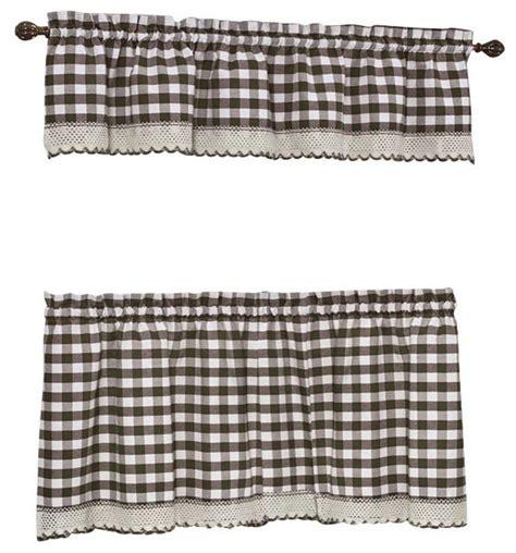 brown buffalo check curtains buffalo check chocolate brown kitchen curtain curtains