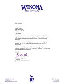 Certification Acceptance Letter acceptance letter from winona state university s special education