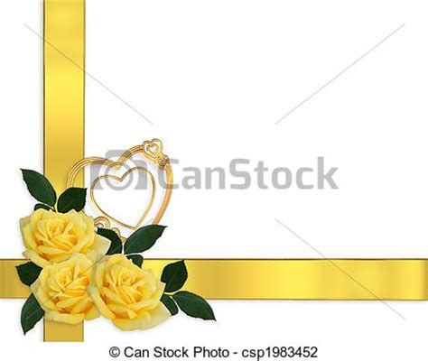 Wedding Border Eps by Wedding Invitation Yellow Roses Border Image And Clip