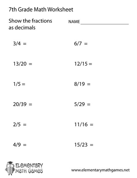 Free 6th Grade Math Worksheets by Seventh Grade Fractions And Decimals Worksheet