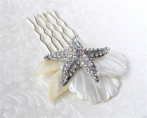 starfish hair accessories by hair comes the bride rhinestone starfish wedding hair comb mother of pearl