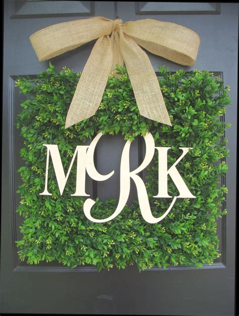 Boxwood Wreath Monogram Wreath And Square Boxwood Monogram Wreath With Burlap Bow Monogram