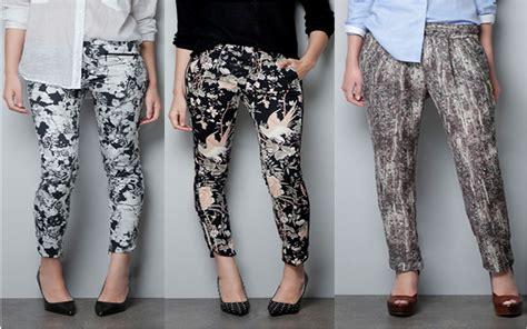zara patterned jeans zara printed pants