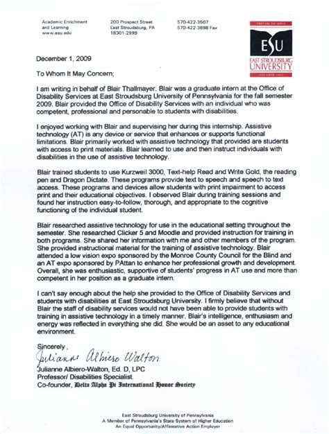 Recommendation Letter For College Intern Internship Reference Letter