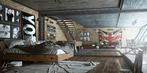 funky bedroom ideas trendy industrial bedroom design with gray and white color