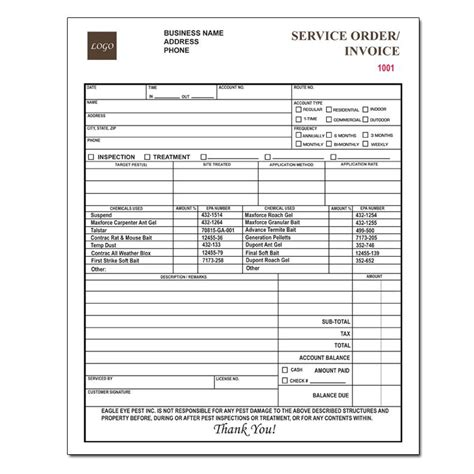 Pest Forms Templates pest invoice forms work order