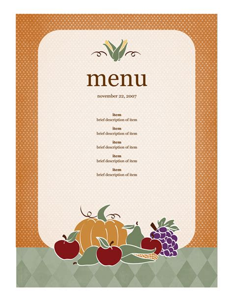 free printable dinner menu templates menu template word