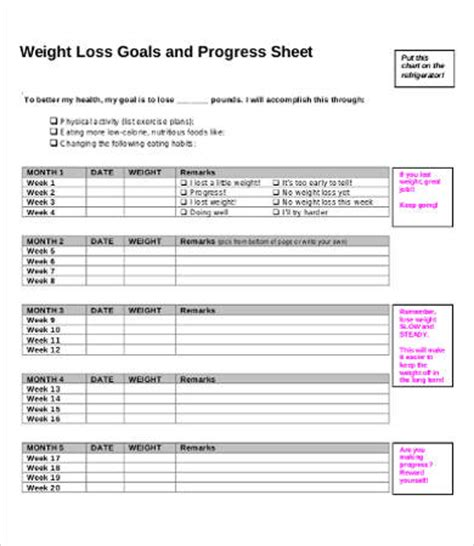 weight loss goals template weight loss goals template gallery free templates ideas