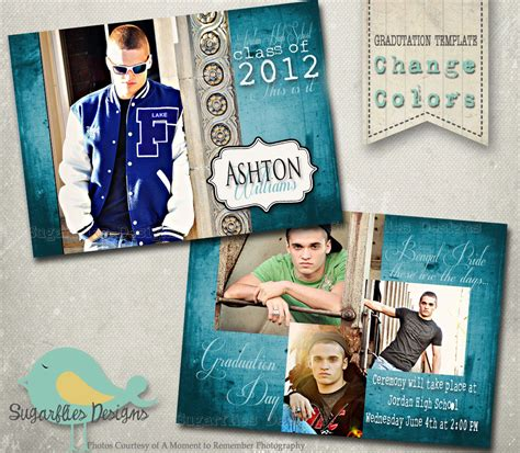 graduation announcement photoshop template senior graduation