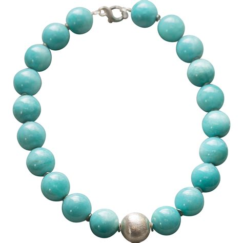 how big is 20mm bead 20mm amazonite and sterling silver large bead necklace