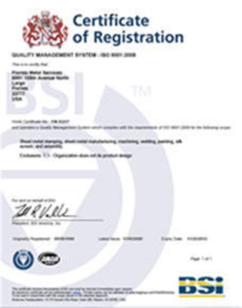 certification letter for product quality assurance precision metal products florida metal