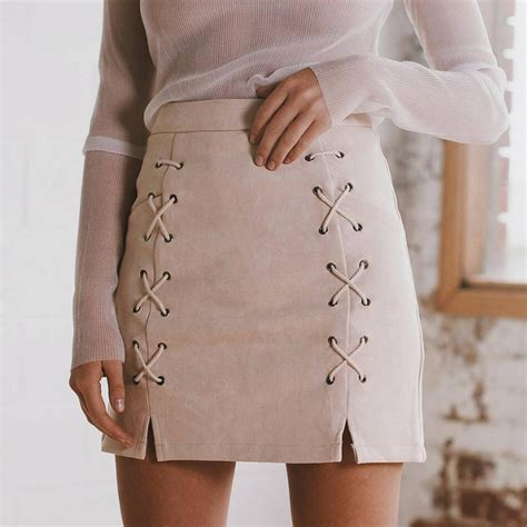 Lace Up Pencil Skirt autumn lace up leather suede pencil skirt winter 2016