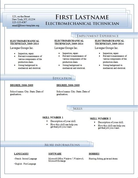 resume templates free download for microsoft word fee