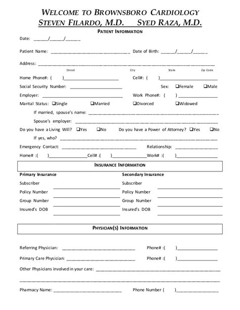 New Patient Forms New Patient Medical History New Patient Forms Templates