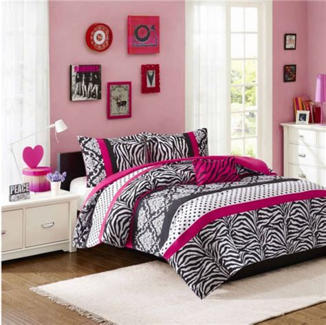 teenage bedroom comforter sets girls teen pink black damask dots zebra stripe comforter