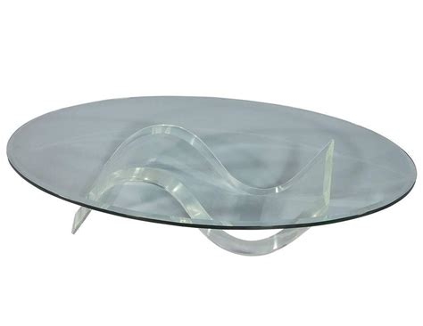 Oval Glass Coffee Table Oval Mid Century Modern Glass Lucite Cocktail Table At 1stdibs