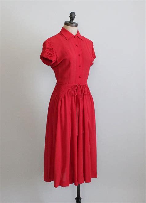 1940 swing dress vintage 1940s red crepe swing dress raleigh vintage