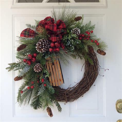 Winter Front Door Wreaths Wreath Winter Wreath Wreath Wooden Sleigh Wreath Evergreen Wreath Country
