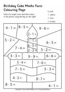 birthday cake maths facts colouring