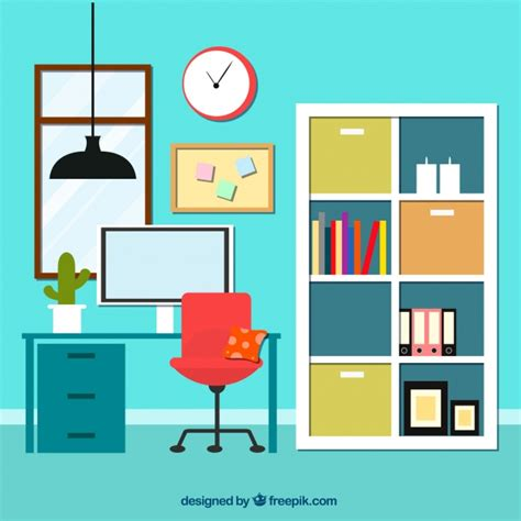home interior design vector interior of office with bookcase vector free
