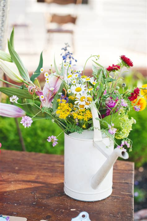 watering can centerpieces wildflower and watering can wedding centerpiece elizabeth designs the wedding