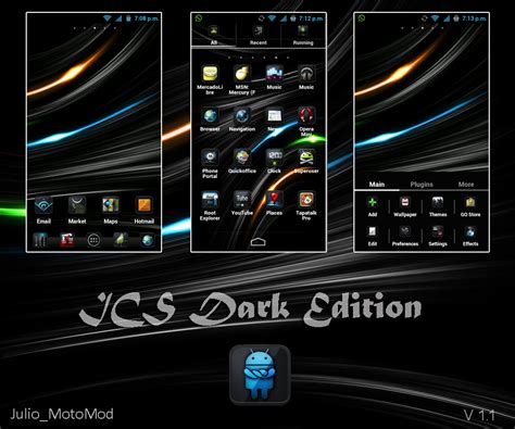 go launcher themes kickass go launcher ex themes ics dark edition v 1 1 by julio