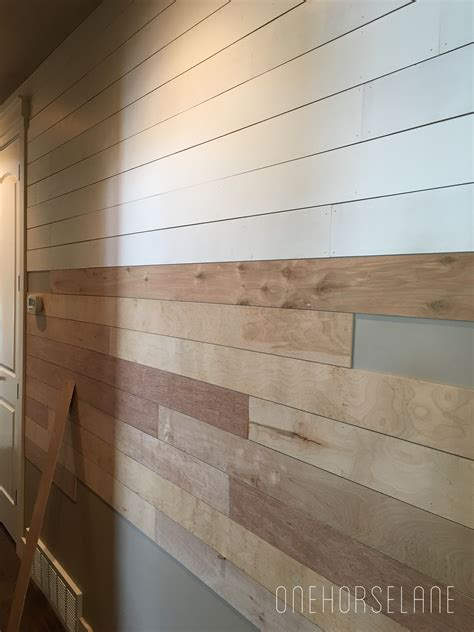 Diy shiplap wall easy cheap and beautiful part 1 one horse lane