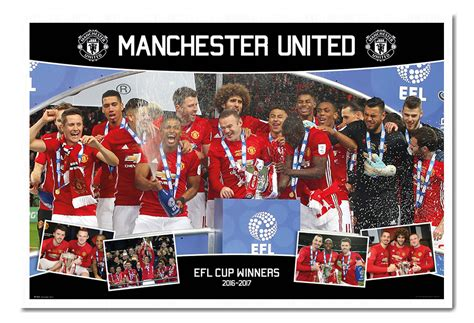 framed manchester united efl cup winners 2017 poster new