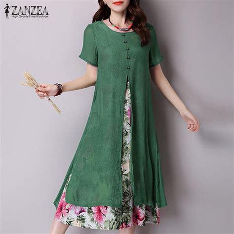 vestidos 2017 autumn dress vintage floral print maxi dress sleeve split casual
