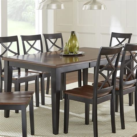 Silver Dining Room Table Steve Silver Rani Two Tone Brown Black Dining Table Olinde S Furniture Dining Room Table