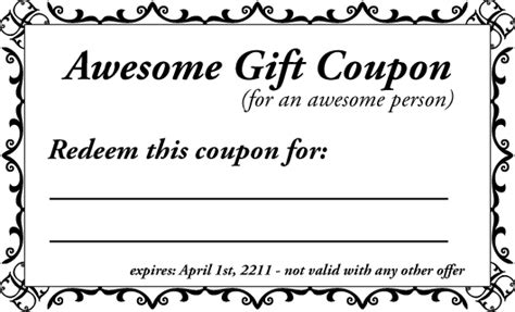 custom coupons free template printable gift coupon templates for birthdays for any