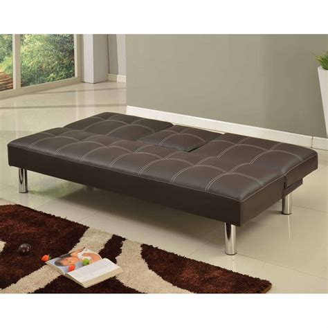 flip down sofa bed cinemo 3 seater brown sofa bed faux leather w fold down