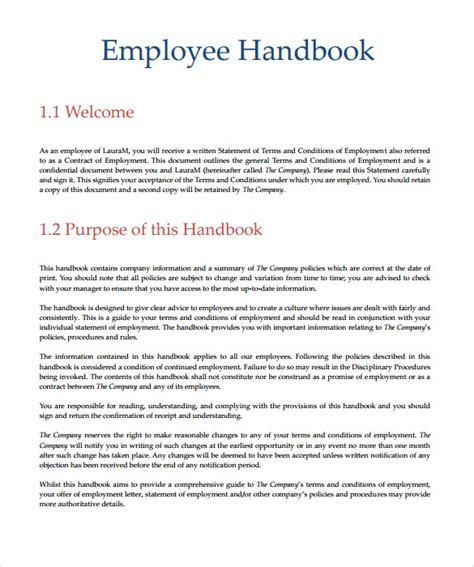 employee manual template employee handbook sle 7 documents in pdf word