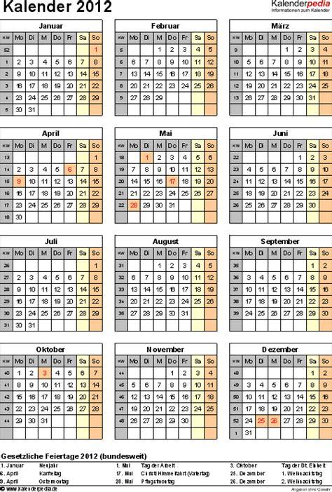 Kalender Jahresansicht Kalender 2012 Zum Ausdrucken Excel Vorlagen In 11