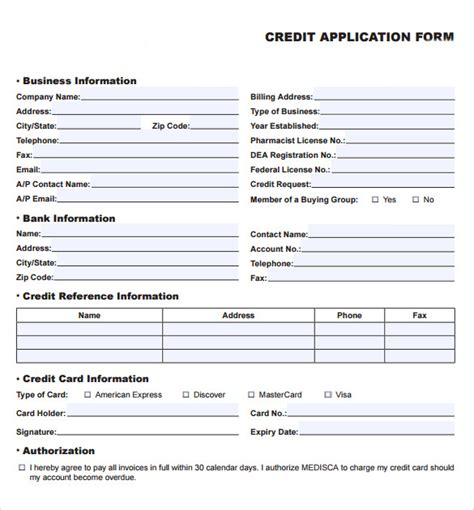 Free Business Credit Application Form Template Australia credit application forms 9 documents free in