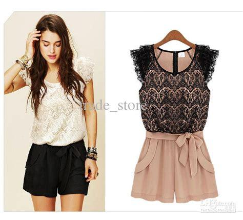 44194 Black Retro Pattern S M L Jumpsuit womens jumpsuit shorts fashion ql