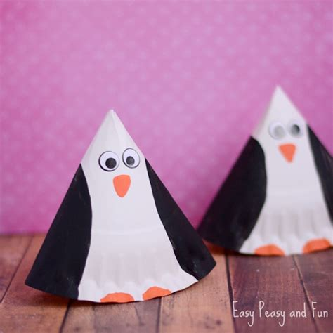 Penguin Paper Craft - rocking paper plate penguin craft easy peasy and
