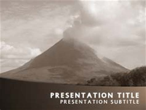 Royalty Free Volcano Powerpoint Template In Orange Volcano Powerpoint Template