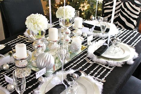 black white silver holiday table celebrations at home