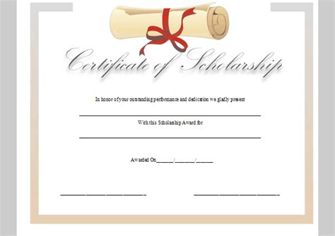 scholarship certificate template certificate template for scholarship sle of