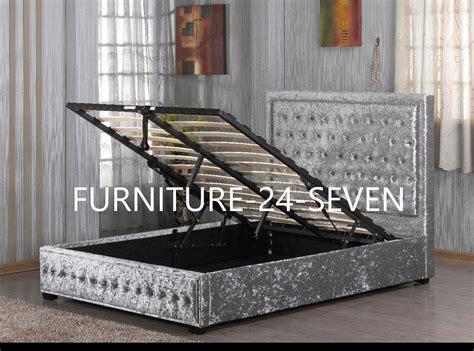 crushed velvet ottoman storage bed ottoman storage chagne crushed velvet designer bed