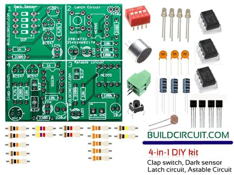 pcb layout for beginners 4 in 1 diy kit dark sensor latch circuit astable