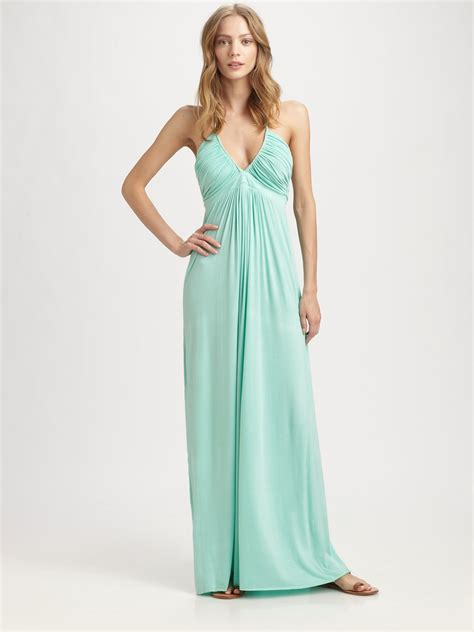 Dress Maxi Nabilah Maxi Mint t bags ruched halter maxi dress in green lyst